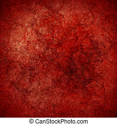 grunge, hautement, fond, textured, art, rouges