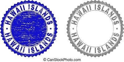 Grunge HAWAII ISLANDS Scratched Stamps