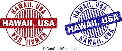 Grunge HAWAII, USA Textured Round Stamp Seals