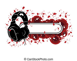 Grunge Headphones Pattern - The Image of grunge pattern with...