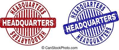Grunge HEADQUARTERS Textured Round Stamp Seals