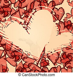 Grunge Heart Background.