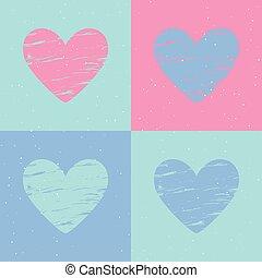Grunge heart background. Valentines day pattern