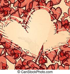 Grunge Heart Background.