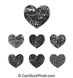 Grunge heart collection