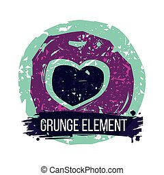 Grunge heart colorful