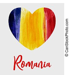 Grunge heart Romania flag background