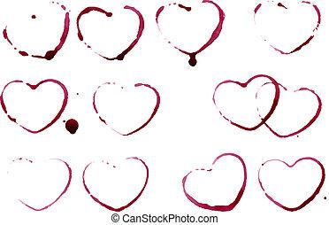 Grunge heart shape prints