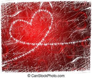 grunge heart shape with stars