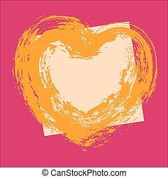 Grunge Heart Vector Frame Design
