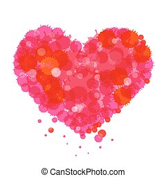Grunge Heart. Vector Red and Pink Heart Symbol Made from Splashes - Blots - Stains