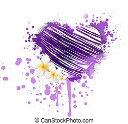 Grunge heart with flowers