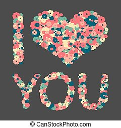 Grunge heart with text I love you.
