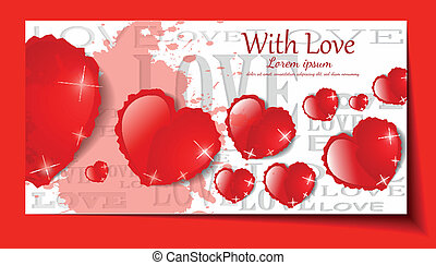 Grunge hearts on white background. Vector set