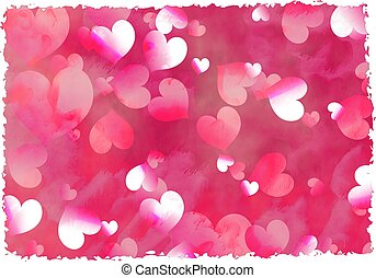 grunge hearts - faded abstract hearts background design with...