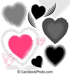 grunge hearts, vector