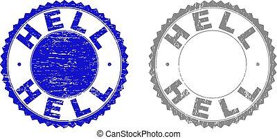 Grunge HELL Textured Stamp Seals