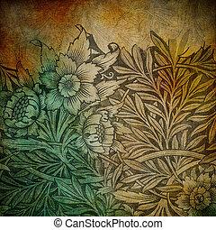 grunge, hely, szöveg, kép, háttér, virágos, vagy