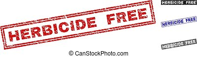 Grunge HERBICIDE FREE Scratched Rectangle Stamps