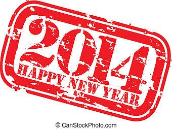 grunge, heureux, nouveau, 2014, année, caoutchouc, s