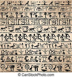 grunge, hieroglyphs, háttér, egyiptomi