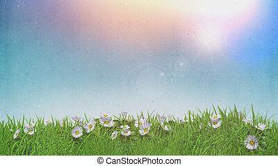 grunge, himmelsgewölbe, sonnig, effekt, retro, gras, gänseblümchen, 3d