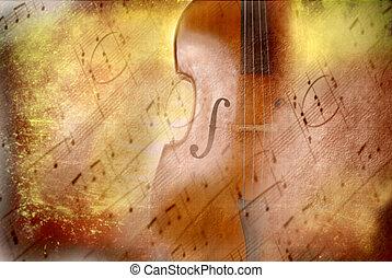 grunge, hintergrund, musik, baß, und, partitur