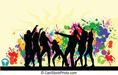 Grunge, hintergrund,  party-
