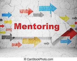 grunge, hintergrund, wand, mentoring, pfeil, bildung,...