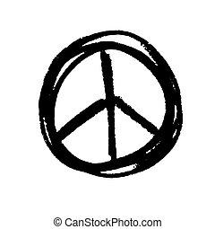 grunge, hippie, segno, simbolo pace, fondo., vettore, nero,...