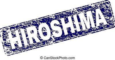 Grunge HIROSHIMA Framed Rounded Rectangle Stamp