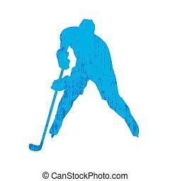 Grunge hockey player silhouette