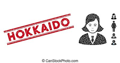 Grunge Hokkaido Line Stamp with Collage Business Lady Icon