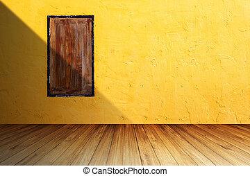 grunge, holz, fenster, auf, hell, orange, betonwand, gegen, perspektive, hölzerner fußboden, mit, schatten, von, links, side.