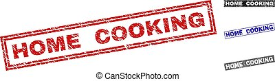 Grunge HOME COOKING Scratched Rectangle Stamps