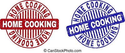 Grunge HOME COOKING Textured Round Stamps