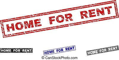 Grunge HOME FOR RENT Scratched Rectangle Watermarks