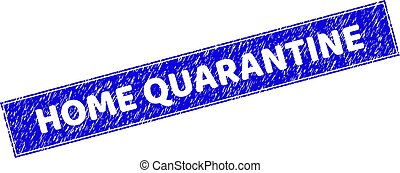 Grunge HOME QUARANTINE Scratched Rectangle Stamp Seal