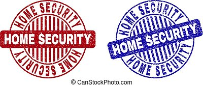 Grunge HOME SECURITY Textured Round Stamp Seals