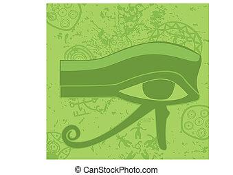grunge, horus, egyptisch, symbool, oog, religieus