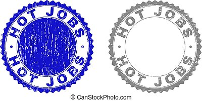 Grunge HOT JOBS Scratched Stamps