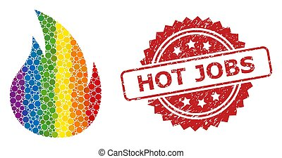 Grunge Hot Jobs Stamp and Spectrum Fire Collage