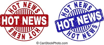 Grunge HOT NEWS Scratched Round Stamps
