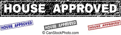 Grunge HOUSE APPROVED Textured Rectangle Stamp Seals