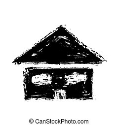 grunge house icon, vector illustration paint brush