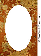 Grunge house wall frame and isolated white oval