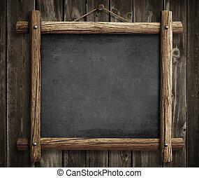 grunge, houten, bord, muur, achtergrond, hangend