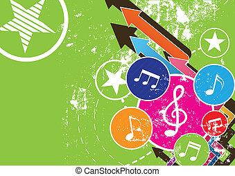 grunge, hudba, festival, grafické pozadí