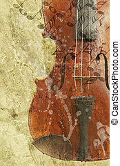 grunge, hudba, grafické pozadí, s, dávný, housle