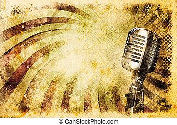 grunge, hudba, grafické pozadí, s, dávný, mikrofon